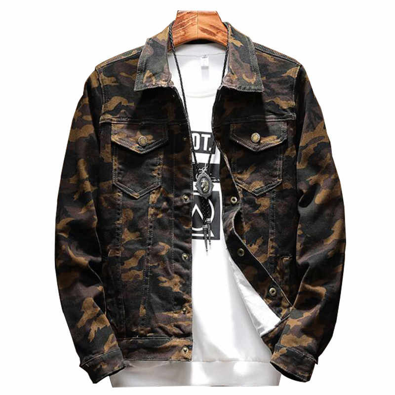 5b892027486da MORUANCLE 2018 Spring New Mens Camouflage Jeans Jacket Fashion Camo Denim  Jackets For Man Turn Down