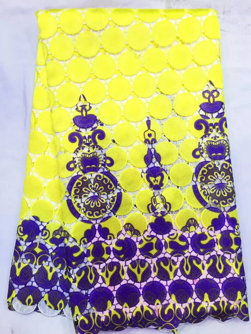 KaKa Wholesale shop Lowest price yellow printed blue African cord lace fabric French guipure lace fabric for sewing wedding dress clothing meterial