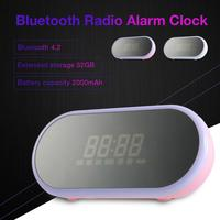 WK SP290 Portable Bluetooth Wireless Speaker Radio Alarm Clock with Time Display Light Makeup Mirror for Android IOS smart phone