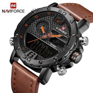 Image 1 - NAVIFORCE Mens saatler lüks marka erkek deri spor saatler erkek kuvars LED dijital saat su geçirmez askeri kol saati