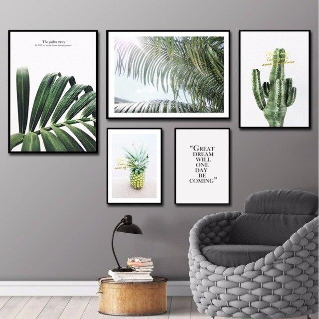 nordic abstrakte wandkunst bl tter wandbilder f r wohnzimmer kaktus hauptdekorationen ananas. Black Bedroom Furniture Sets. Home Design Ideas
