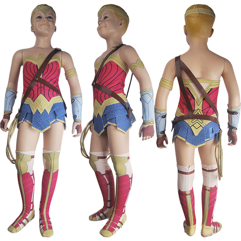 Kids Girls Superhero Wonder Woman (2017 film) Princess Diana Cosplay Halloween Costume Suit Skirt Deluxe Xmas Birthday Gift Toys