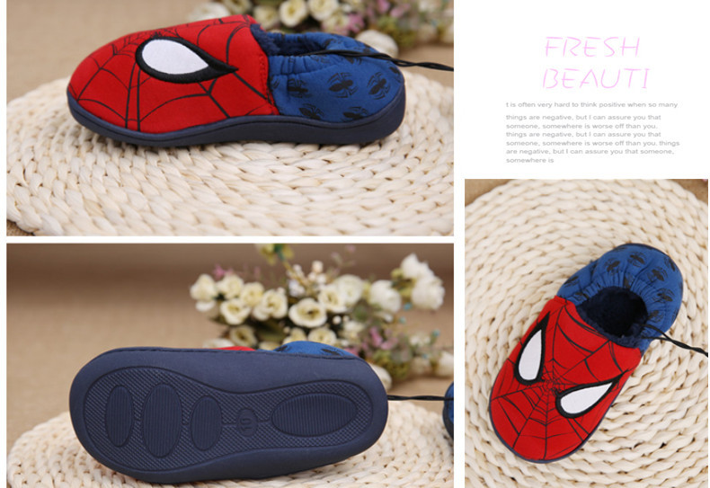 Disney slippers winter todder spiderman home slippers baby boy warm plush shoes cartoon animation floor pantuflas terlik (3)