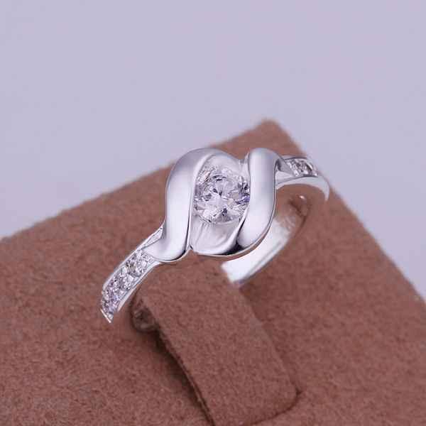 จัดส่งฟรี 925 เครื่องประดับ silver plated เครื่องประดับแหวนแฟชั่น Silver Plated Zircon ผู้หญิง & ผู้ชายนิ้วมือคุณภาพสูง SMTR160