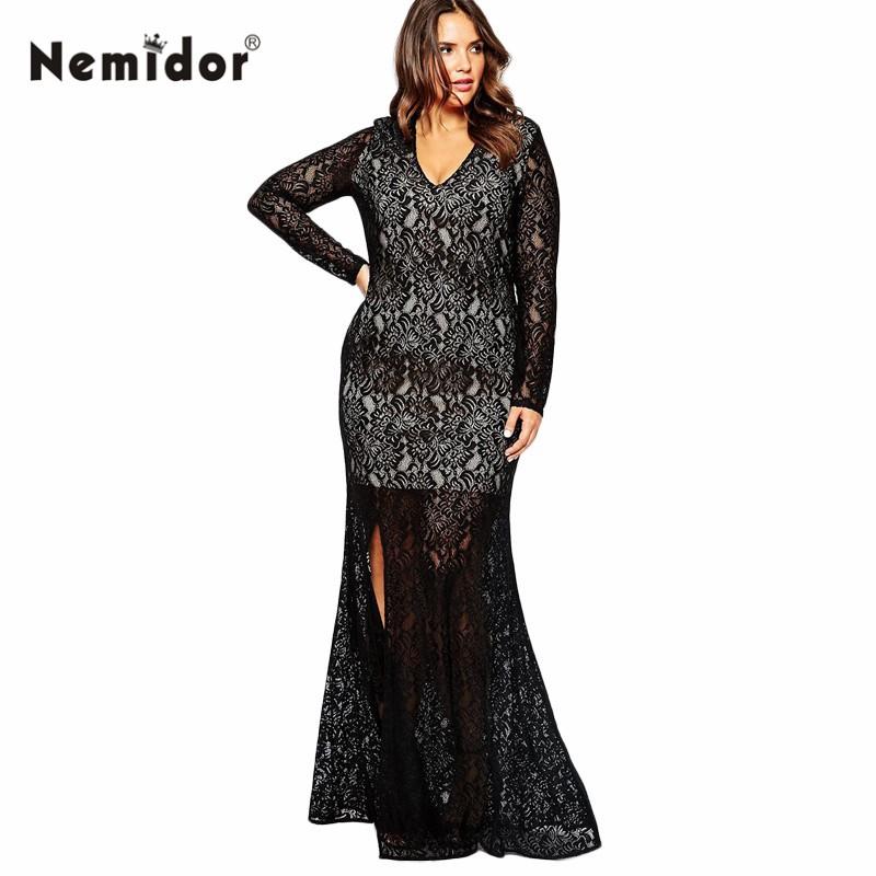Autumn Winter Women V-neck Full Lace Vintage Big Plus Size 8XL Long Maxi Dress (4)