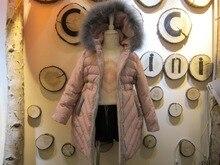 Дизайн марка капюшоном розовый свет теплое пальто девушки длинное пальто пуховик 90% белый утка вниз пальто девочек одежда 2 3 4 5 6 8 9 10 года
