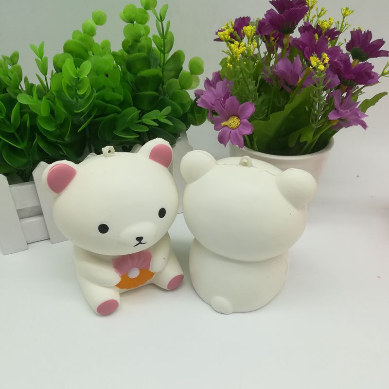 Squishy White Bear Toast Scented Charm Slow Rising Squeeze Stress Reliever Toy squishy toys squishy slow rising kawaii antistres