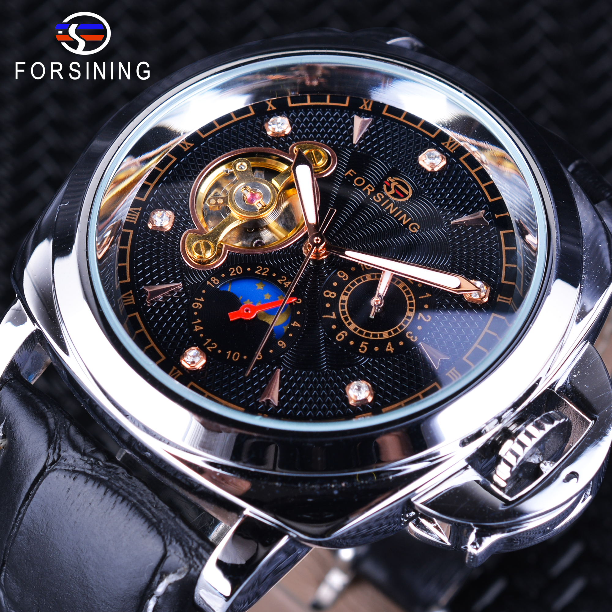 Forsining Genuine Leather Men Business Fashion Military Watch Diamond Black Dial Tourbillion Moon Phase Mechanical Wristwatches