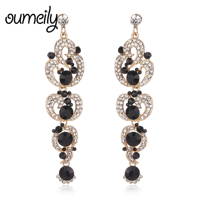 OUMEILY Chandelier Crystal Long Earrings for Women Black Blue Red Gold  Color Rhinestone Hanging Earrings Bridal Wedding Jewelry 1628bad0a97c