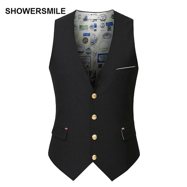 SHOWERSMILE Chaleco de Traje de Chaleco de Los Hombres Del Otoño Del Resorte Slim Fit Solid Casual Suit Blazer Chaqueta Sin Mangas Negro Chaleco Homme