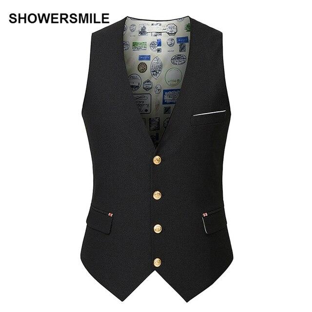 SHOWERSMILE Suit Vest Men Spring Autumn Slim Fit Solid Casual Waistcoat Suit Blazer Sleeveless Jacket Black Gilet Homme