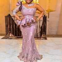 Vestido de noche nigeriano elegante vestido largo de Noche vestidos de sirena mangas con cuentas vestido de noche apliques vestidos formales