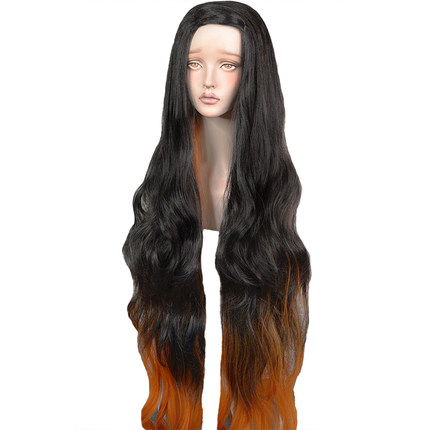 Frugal Kamado Nezuko Cosplay Wig Blade Of Demon Slayer Kimetsu No Yaiba Halloween Anime Curly Hair Mixed Black Brown Aromatic Flavor Home
