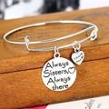 Мода Всегда Сестра Всегда Сердце Браслет Семейные Подарки Любовь Сувениры Ювелирные Изделия Браслеты Шарма Посеребренные Мотаться