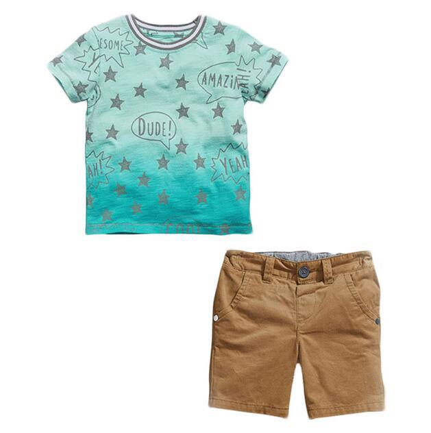 Лето 2017 г. Одежда для мальчиков комплект одежды для маленьких мальчиков Звездный Футболка + брюки 2 шт./компл. малышей детская одежда