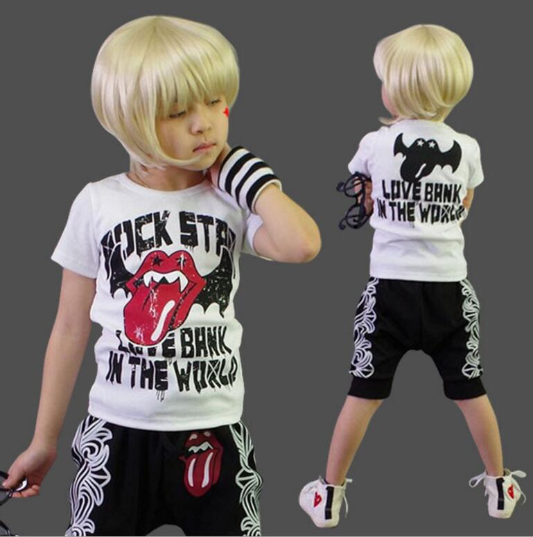 Summer Children's Wear Boy's Short Sleeved&Trousers Suit Cotton Printed T-shirt and Haren Trousers Two pieces Sets