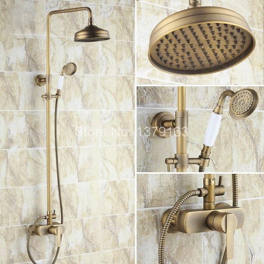 Bathroom Rain Shower Faucet Set Antique Brass Single Lever Mixer Tap + 8 Inch Round Rainfall Shower Head + Handshower ars174