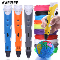 Aveibee 3D Pen 3 D Printer Drawing Magic Printing Pens With 100M 10 Color Or 200 Meter 20 Colors Plastic ABS Filaments