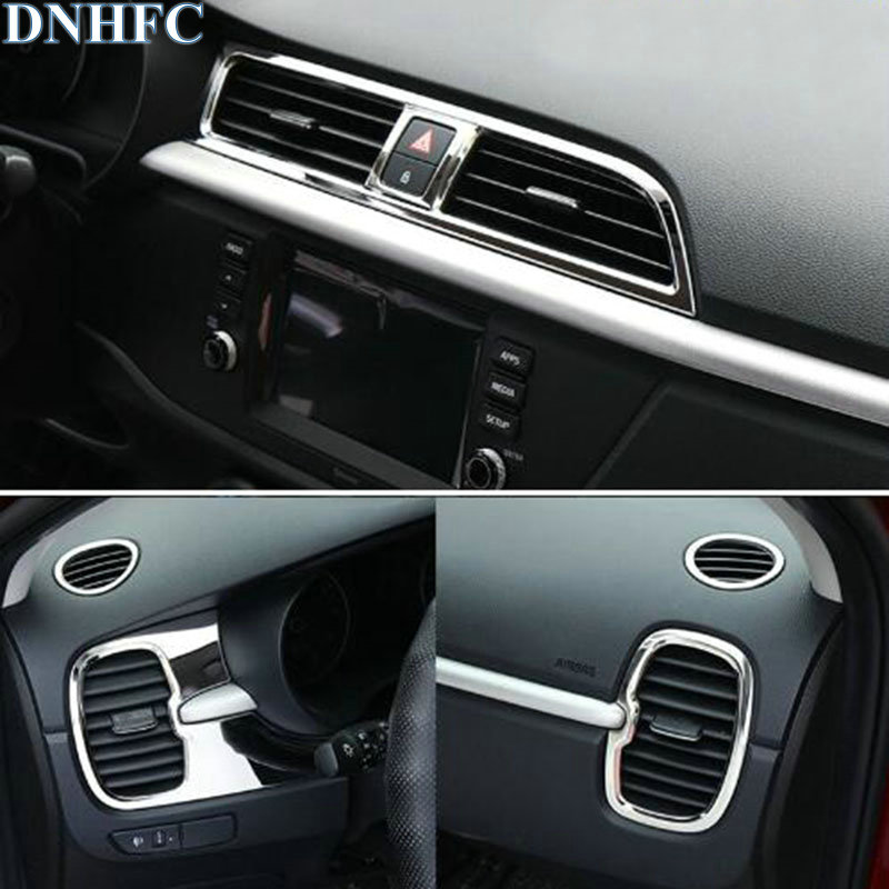 DNHFC air outlet circle cover interior mouldings car-styling chrome trim For KIA RIO X-LINE X LINE RIO 4 LHD 2017 2018