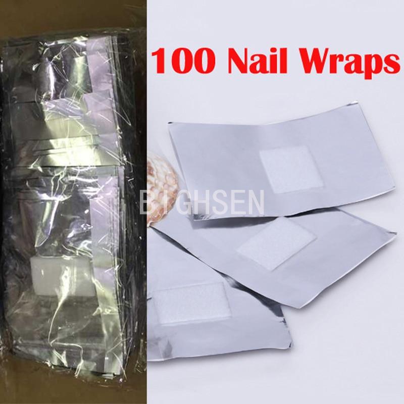 100 Pcs/Lot Aluminium Foil Paper Cotton Nail Art Soak Off Acrylic UV Gel Nail Polish Removal Wraps Remover Makeup Tool BRE0005
