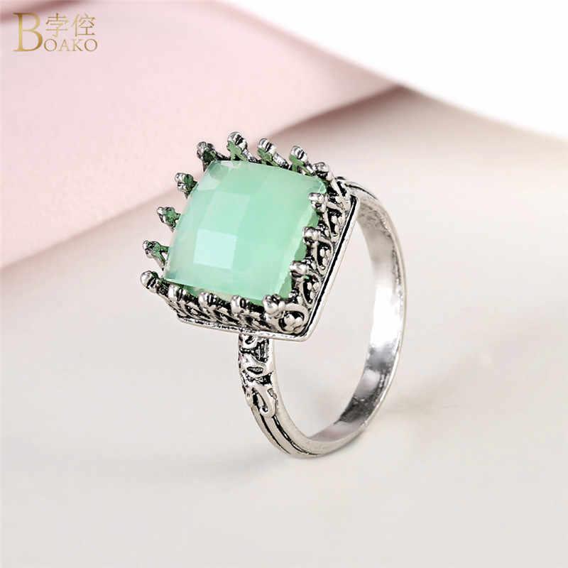 BOAKO หินสีเขียวธรรมชาติแหวนผู้หญิงโบราณ Peridot เครื่องประดับ Anel Bague Pour แหวนหมั้น