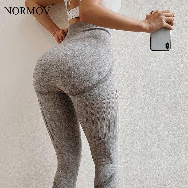 NORMOV Women Workout Leggings Fitness Push Up Legins Women Vintage Activewear Capri Leggings Mesh Cotton Leggings