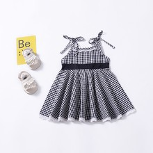 Summer Casual Baby Girls Plaid Print Strap Design Dress Cotton Kids Toddler Sleeveless Sundress Baby Girl Casual Robes hot child kids girls sleeveless long casual summer cotton dress sundress clothes girl dress
