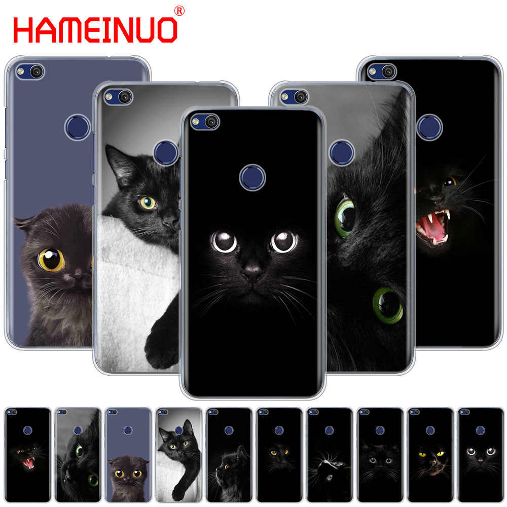 HAMEINUO Siyah Kedi Başlangıç Göz Kapak telefon kılıfı için huawei Ascend P7 P8 P9 P10 P20 lite artı pro G9 g8 G7 2017