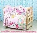 Promoción! 10 unids Hello Kitty sistema del lecho del bebé animal cuna lecho del bebé 100% algodón ropa de cama ( parachoques + colchón + almohada + funda nórdica )