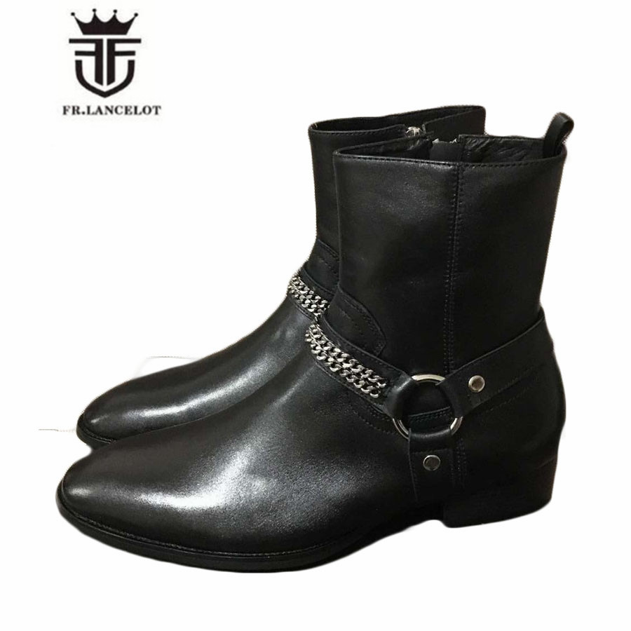 Real Picture High Top Black Genuine Leather Ankle Buckle Strap With Sliver Chain Luxury Men Boots Catwalk Handmade Fashion Shoes mini gray shaggy deer pvc quilted chain bag with cover real picture