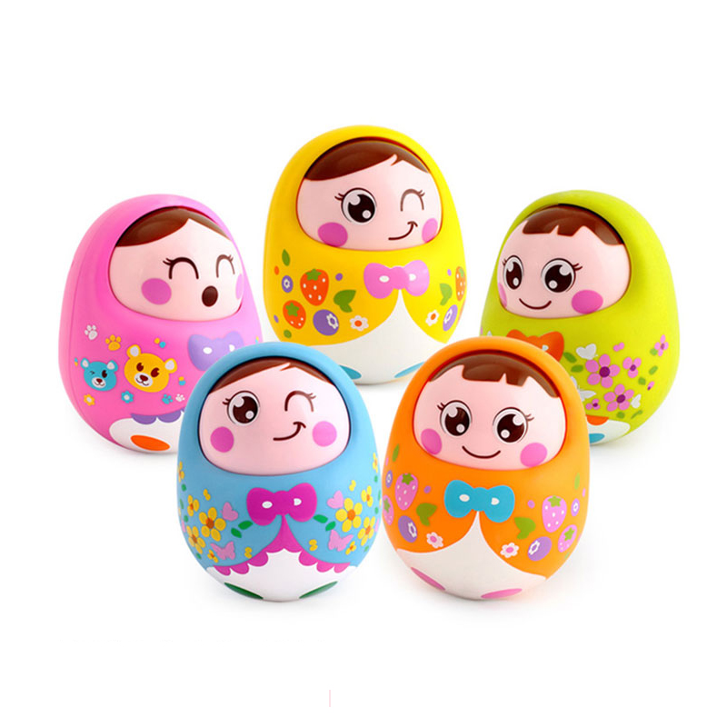 Huile Baby Cute Cartoon Musical Rattles Bell Roly Poly Early Education Fun Toys Nodding Tumbler Doll For Children Birthday Gift