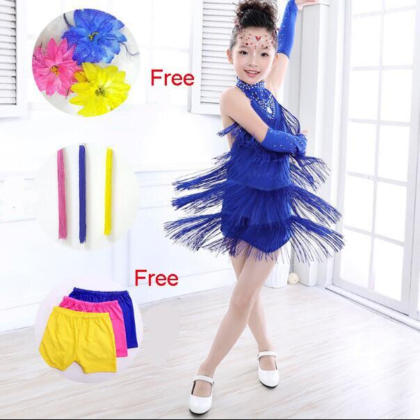 Дети Костюмы для латиноамериканских танцев платье для танцев для Обувь для девочек бахрома Костюмы для латиноамериканских танцев танцевальный костюм одежда Костюмы для бальных танцев/Танго/Румба/Samba/Костюмы для латиноамериканских танцев Salsa платье для Танцы