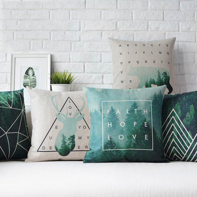 Nordic Style Cushion Cover Home Decor Deer Green Decorative Pillows New Teal Green Decorative Pillows