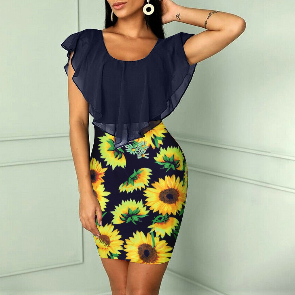 Sexy Womens Sunflower Summer Bodycon Dress Sleeveless Printed Holiday Party Short Mini Dresses Ruffle Summer Dress Sexy Womens Sunflower Summer Bodycon Dress Sleeveless Printed Holiday Party Short Mini Dresses Ruffle Summer Dress 2019 Vestido