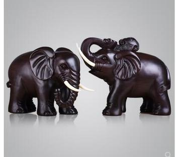 Ebony Wood An elephant furnishes a pair of lucky elephants Black rosewood rosewood pear Real wood animal Handmade sculpture