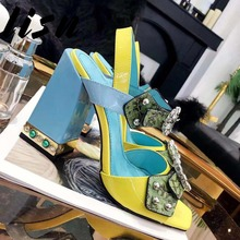 LISN New Snakeskin Genuine Leather Crystal Buckle Strap Summer Sandals Open Toe Thick Heel HIgh Pumps Shoes Women