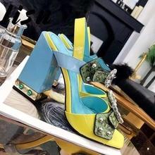 купить LISN New Snakeskin Genuine Leather Crystal Buckle Strap Summer Sandals Open Toe Thick Heel HIgh Heel Pumps Shoes Women по цене 9006.76 рублей