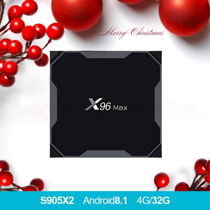 X96 MAX Android 8,1 tv box Amlogic S905X2 LPDDR4 4 ядра 4 GB 64 GB 2,4G и 5 ГГц Wifi BT 1000 м H.265 4 K pk с w1 x96max tvbox