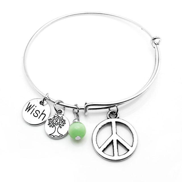 Summer Love Brand Charms Moon Peace Bangle Bracelet Wire Cable With Pedant Tree Heart