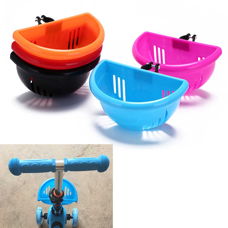 Children's Bike Basket Plastic Easy Installation Bicycle Bag Kids Scooter Handle Bar Basket with Bracket Bike Accessories Top