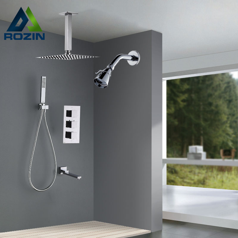 Luxury Dual Head Shower Faucet Set Ceiling Mounted Chrome Bath Shower Mixers with Hand Shower Tub Spout Wall Mount Shower Head