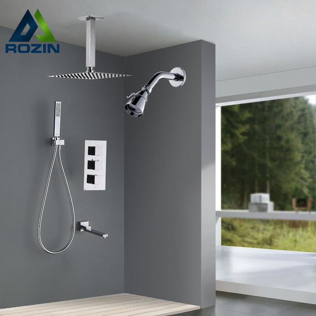 Luxury Dual Head Shower Faucet Set Ceiling Mounted Chrome Bath ...