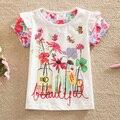 Bandera 2016 nuevos bebés y niños verano ropa de algodón floral de la niña chica cuello redondo camisetas de manga corta ropa de los niños G6119