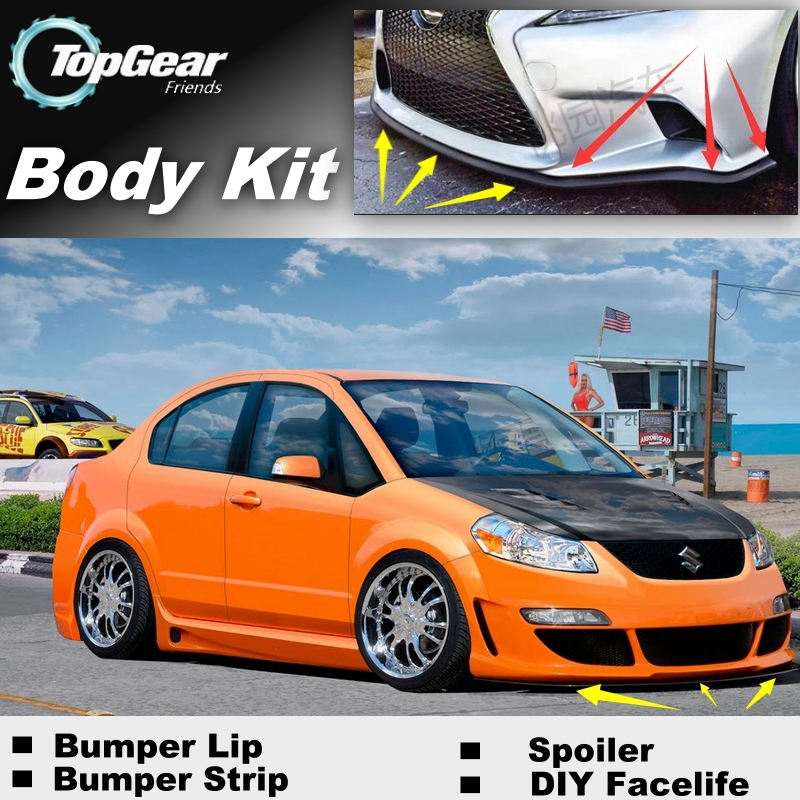 Bumper Lip Deflector Lips For Suzuki SX4 SX-4 SX 4 Neo Baleno Front Spoiler Skirt For TopGear Car Tuning View / Body Kit / Strip