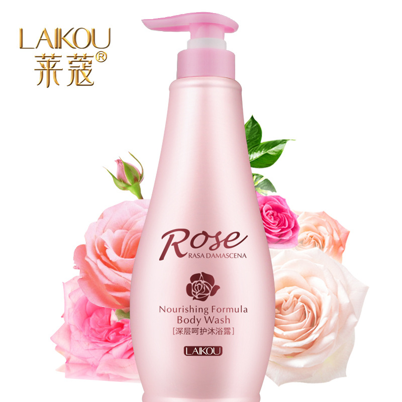 LaiKou care rose oil shower gel nourishing anti-wrinkle firming brighten the skin to remove aging skin moisturizing body wash skin care laikou collagen emulsion whitening oil control shrink pores moisturizing anti wrinkle beauty face care lotion cream