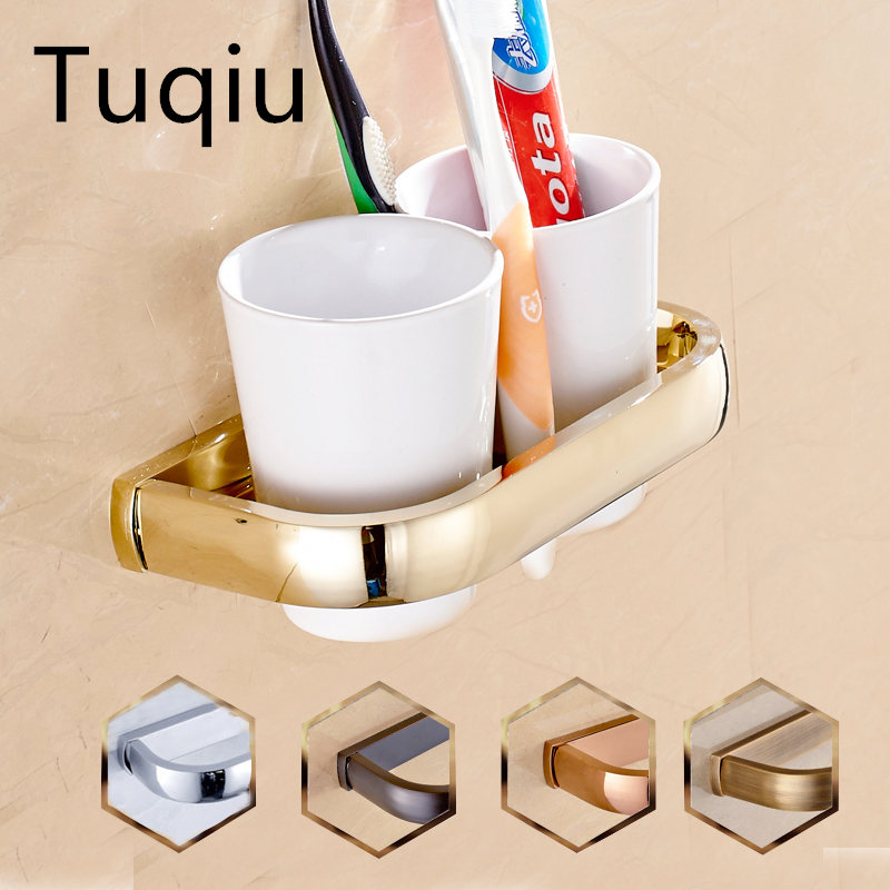 New Modern washroom double toothbrush holder luxury European style tumbler & cup holder wall mounted bath product 5 colors luxury golden brass three cup holder luxury style golden copper toothbrush double tumbler 3pcs cup holder wall bath cup rack