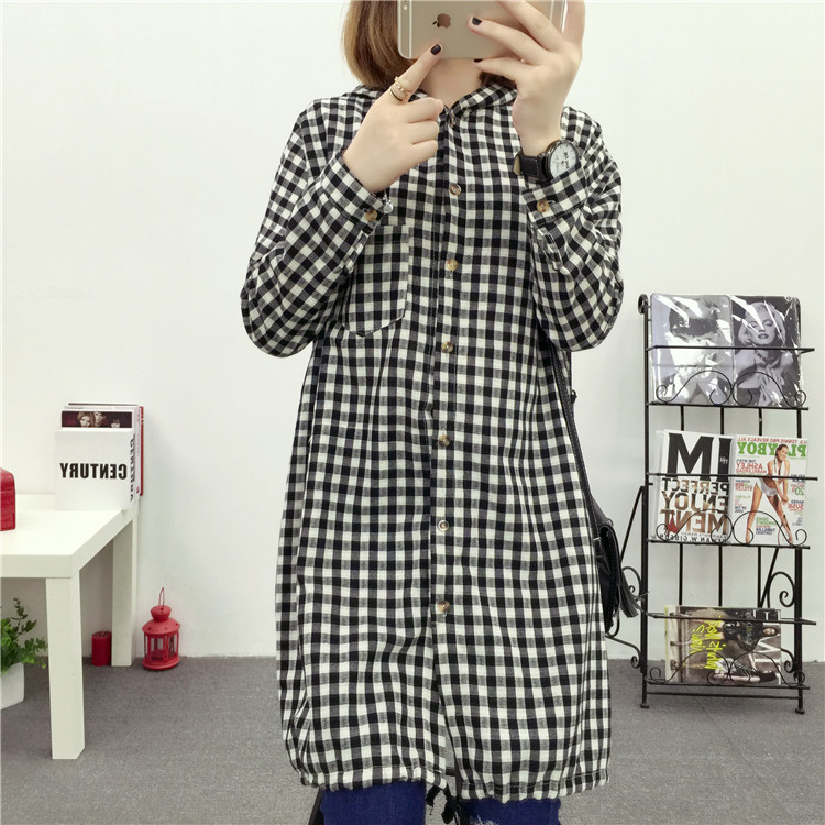 Brand Yan Qing Huan 2018 Spring Long Paragraph Large Size Plaid Shirt Fashion New Women's Casual Loose Long-sleeved Blouse Shirt 18