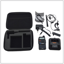 Black Baofeng BF-UV5R UV-5R walkie talkie DUAL BAND radio 136-174/400-520MHz FM radio w/free earpiece & Nylon suitcase packing