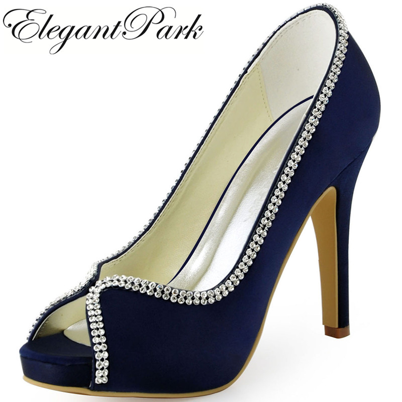 Woman Shoes Wedding bridal High heel platform Navy Blue Satin Lady female bridesmaid Prom Party evening Pumps Black EP11083 navy blue woman bridal wedding sandals med heel peep toe bride bridesmaid lady evening dress shoes white ivory pink red hp1623