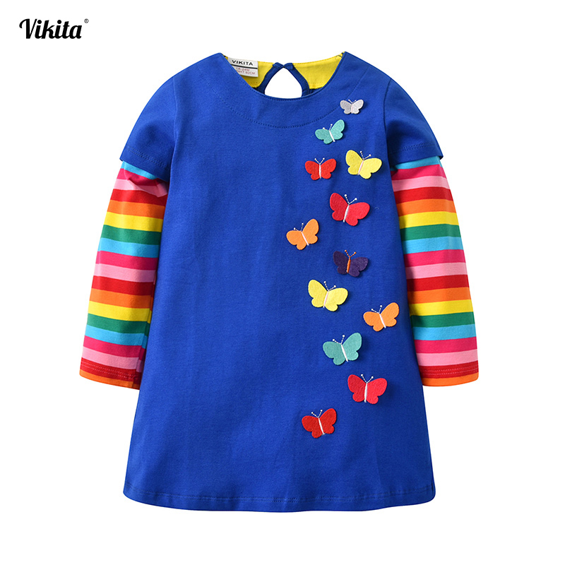 VIKITA New Arrival Kids Dress For Girls Rainbow Butterfly Cartoon Kids Dress For Baby Girl Clothes Princess Party Dresses 2-8Y vikita brand new girl dresses 100% cotton girls butterfly cartoon dress toddlers summer short sleeve patchwork dresses sh4554